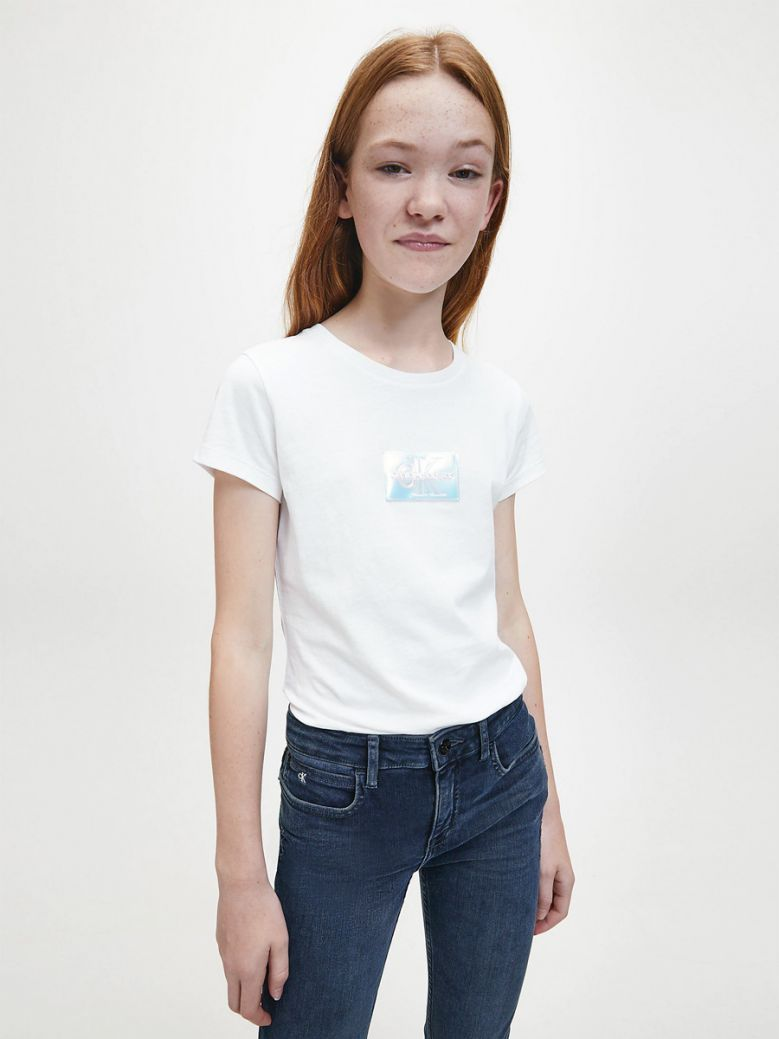 Calvin Klein Jeans White Slim Organic Cotton Badge T-Shirt