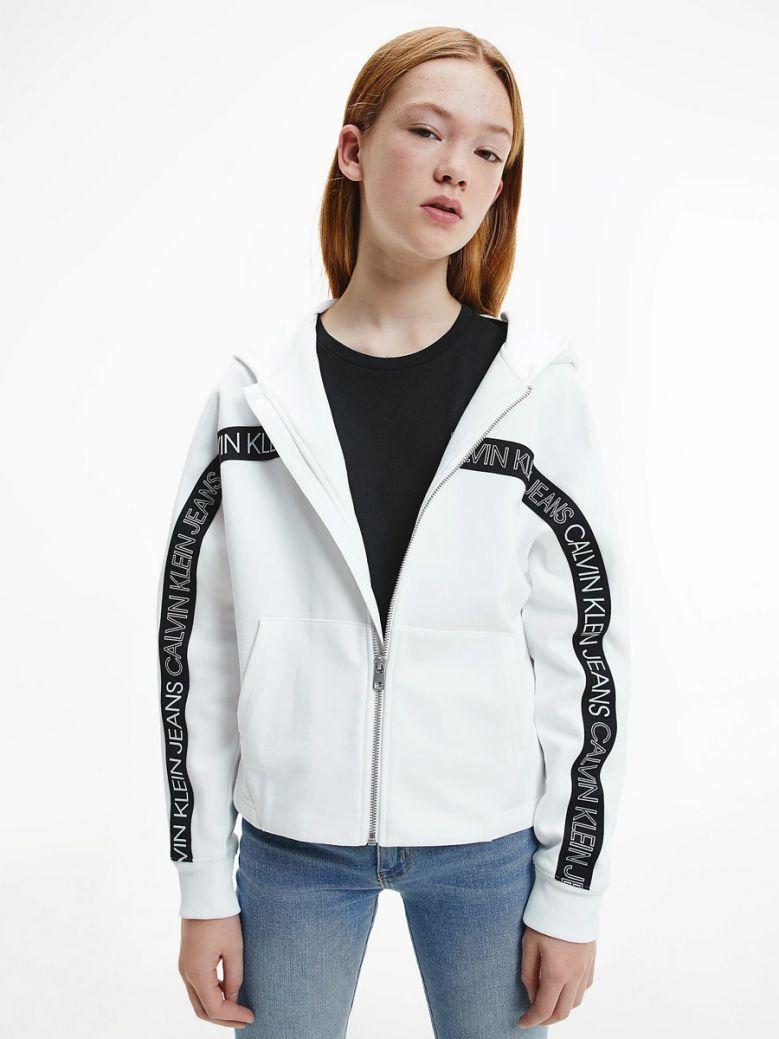Calvin Klein Jeans Kids White Organic Cotton Zip Up Hoodie