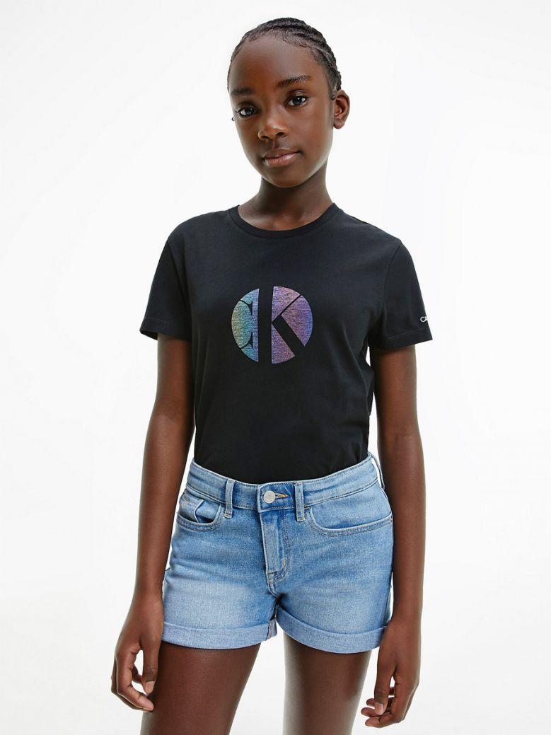 Calvin Klein Jeans Kids Black Organic Cotton Iridescent Logo T-Shirt