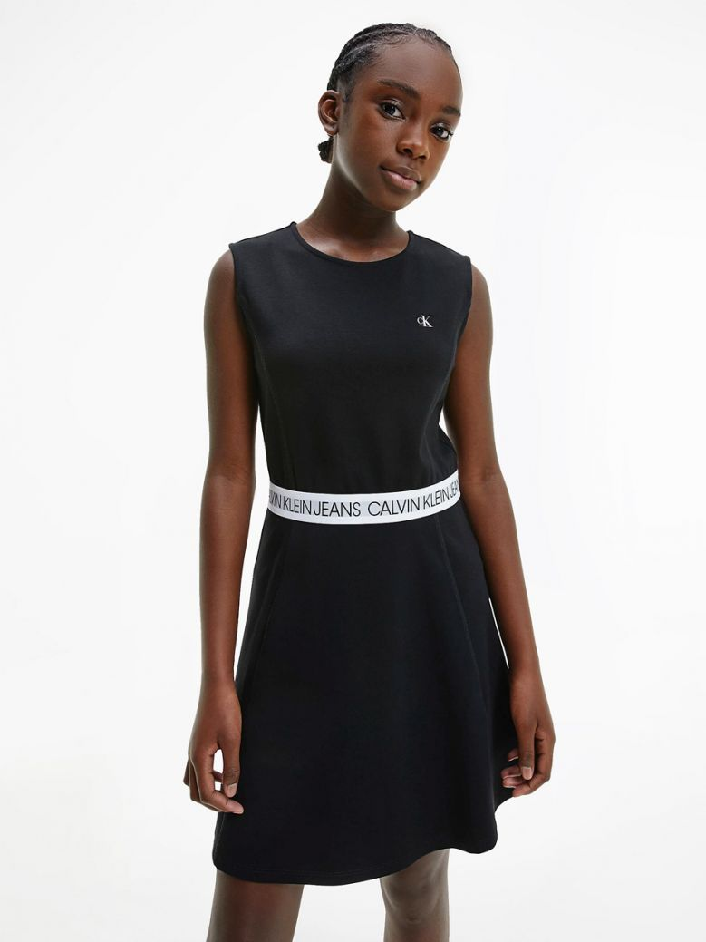 Calvin Klein Jeans Kids Black Milano Jersey Skater Dress