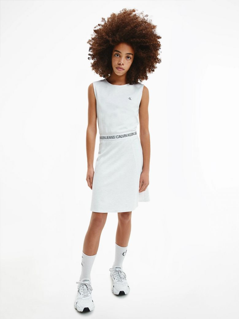 Calvin Klein Jeans Kids Whitecap Gray Heather Milano Jersey Skater Dress