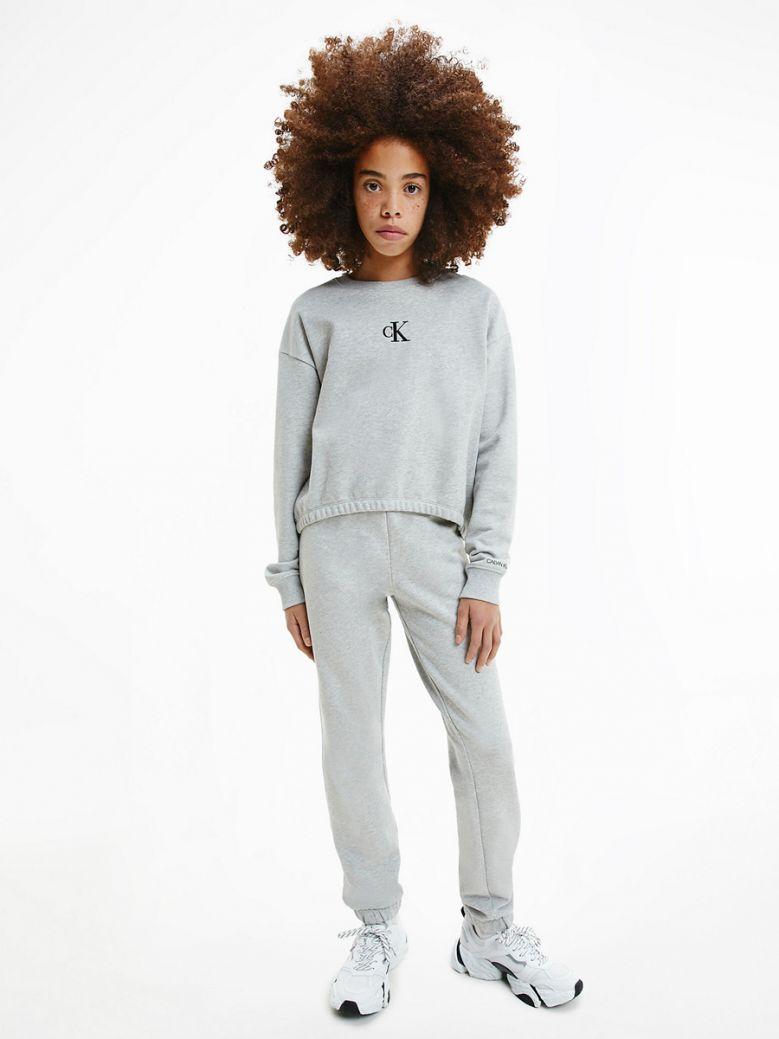 Calvin Klein Jeans Kids Light Grey Heather Organic Cotton Sweatshirt