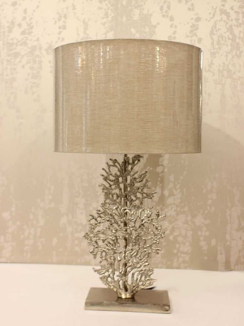 Silver Coral Detail Table Lamp With Beige Shade