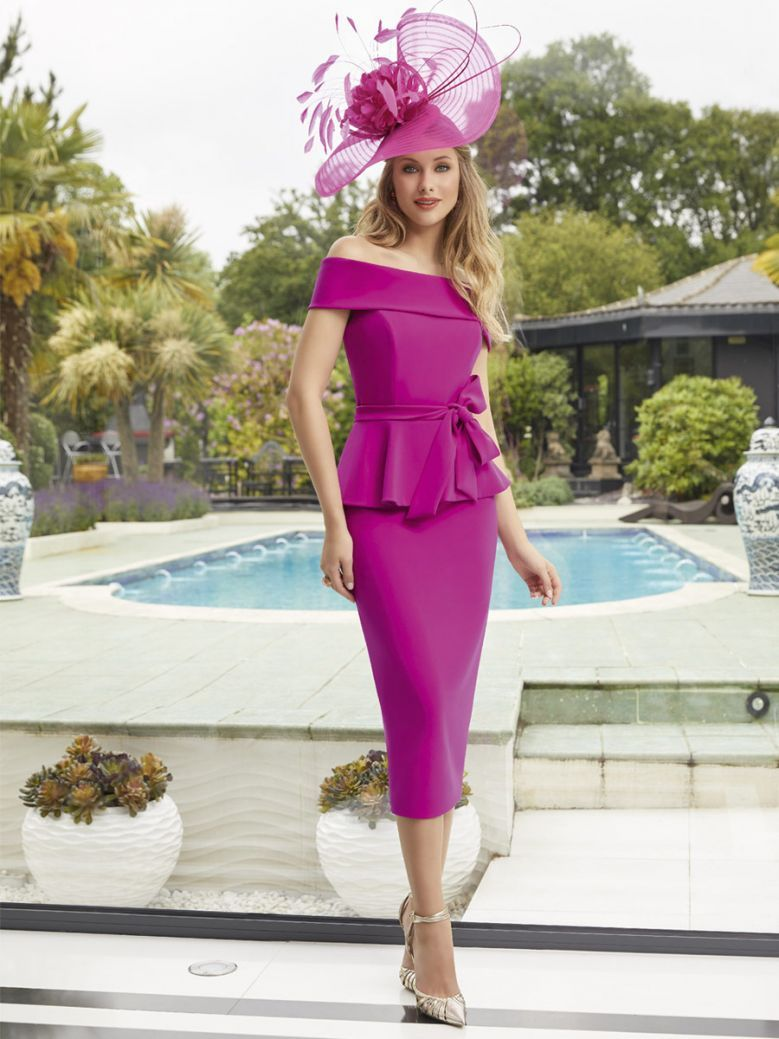 Invitations By Veni for Ronald Joyce Off The Shoulder Dress, Magenta, Style 29455
