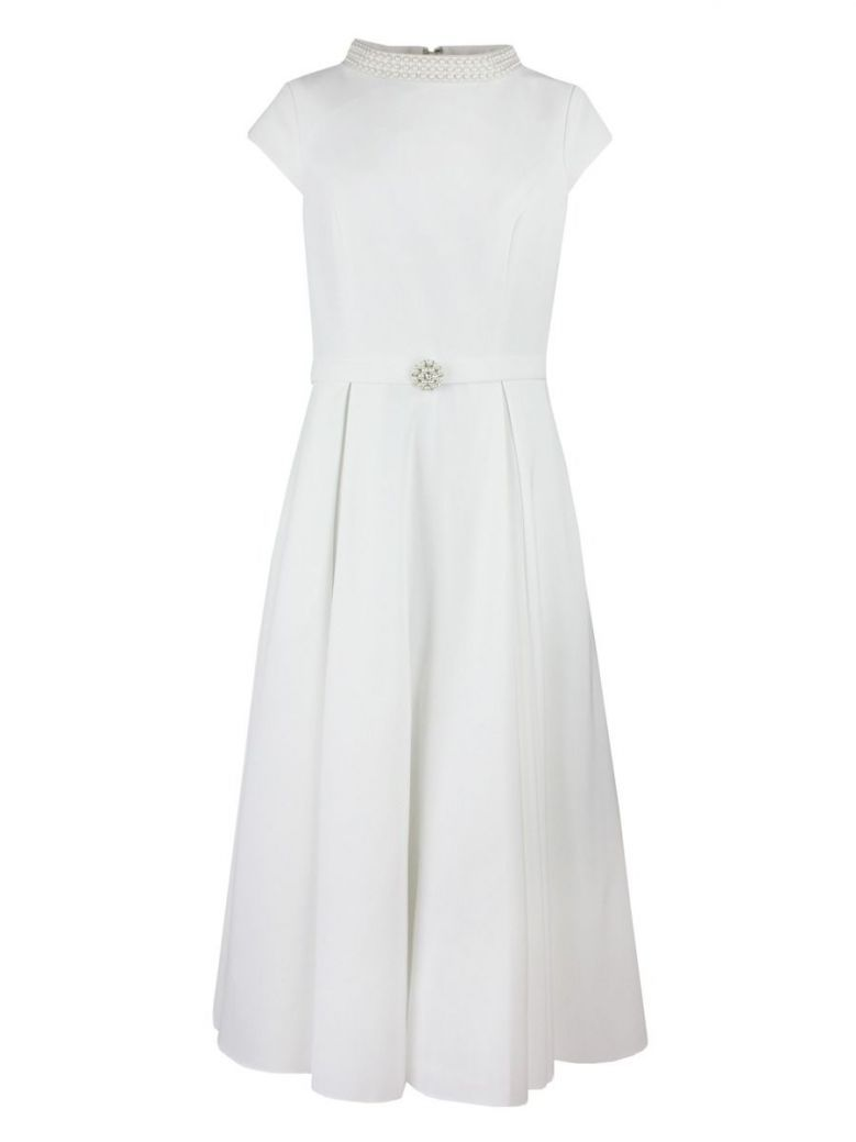 Invitations by Veni for Ronald Joyce Capped Sleeve Pearl Detail Dress, Ivory, Style 29341