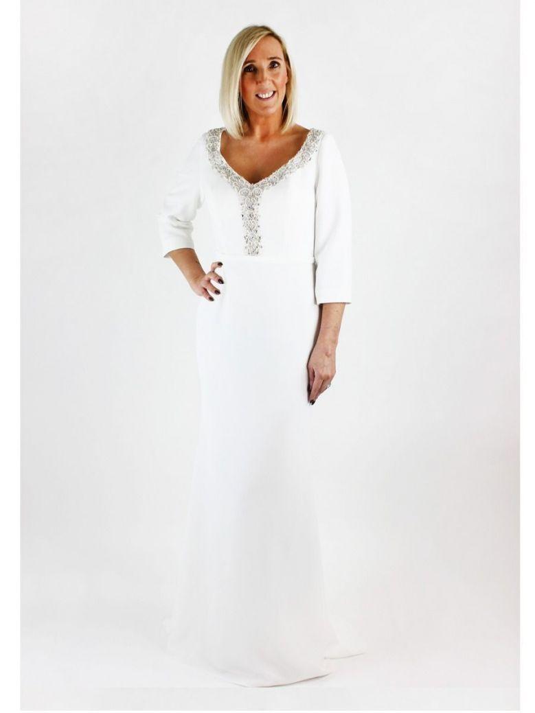 Invitations by Veni for Ronald Joyce Embellished Neckline Dress, Ivory, Style 29342L
