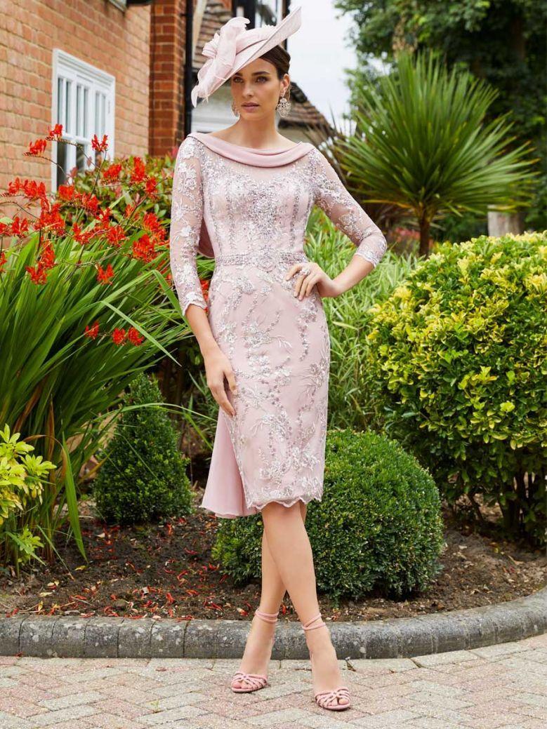 Veni Infantino for Ronald Joyce Drape Neckline Lace Dress, Dusty Pink, Style 991734