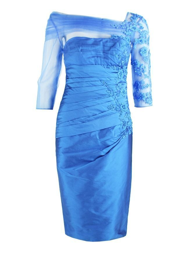 Irresistible Embroidered Tulle Sleeve Dress, Peacock Blue, Style IR1275S8