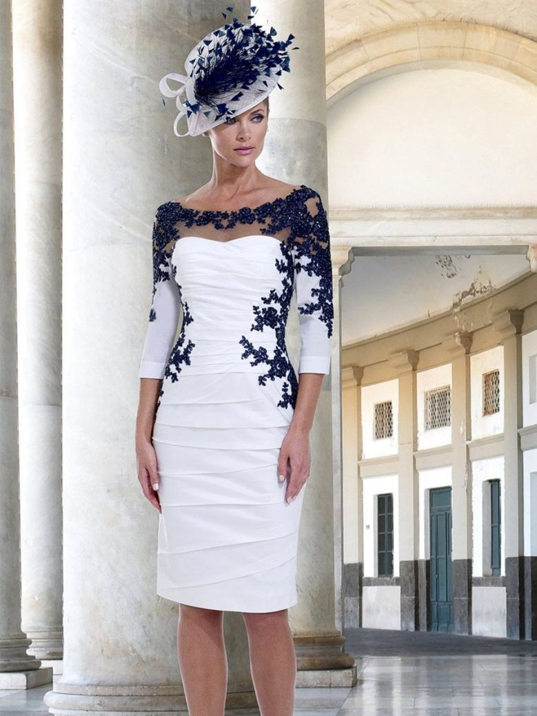 Irresistible Lace Detail Dress, Ivory and Navy, Style IR4018