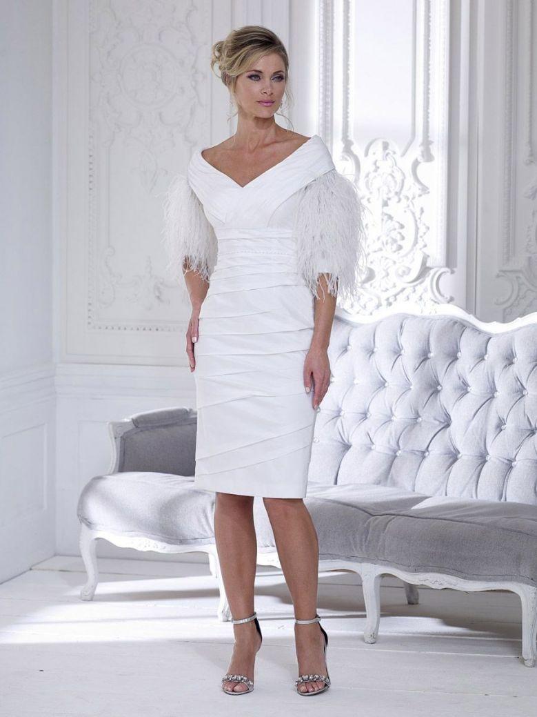 Irresistible Feather Sleeve Dress, Ivory, Style IR4023