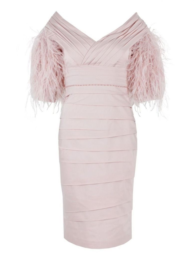 Irresistible Feather Sleeve Dress, Rose, Style IR4023