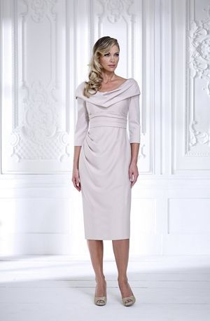 Irresistible Cowl Neck Ruffle Detail Dress, Champagne, Style IR4026