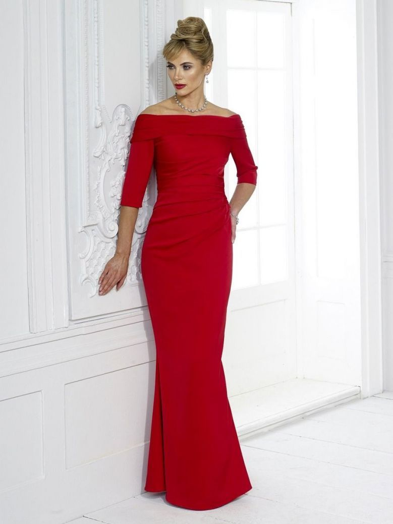 Irresistible Off The Shoulder Evening Dress, Ruby Red, Style IR5014