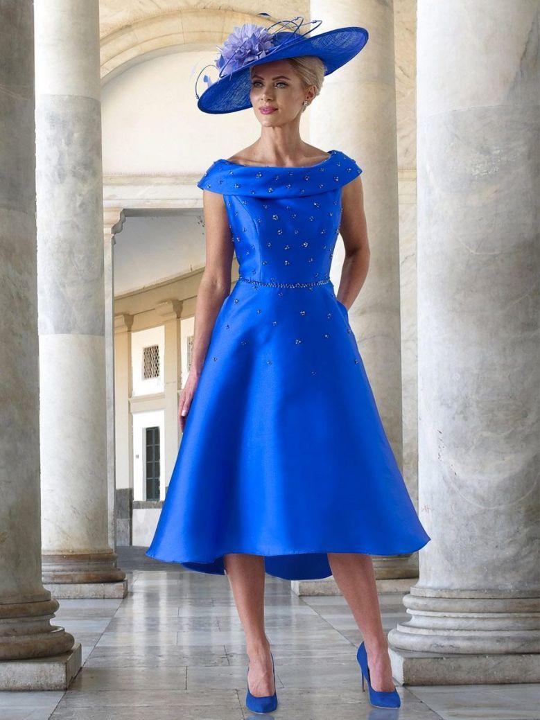 Irresistible Bardot A-Line Dress, Cobalt Blue, Style IR5084D