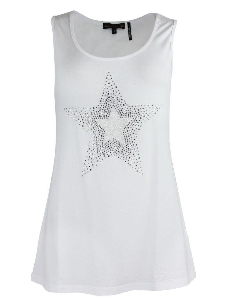 Tricotto White Sleeveless Star Detail Top