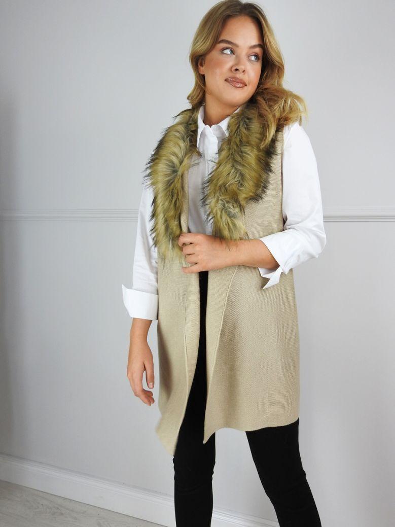 Cilento Woman Camel Wool and Faux Fur Trim Gilet