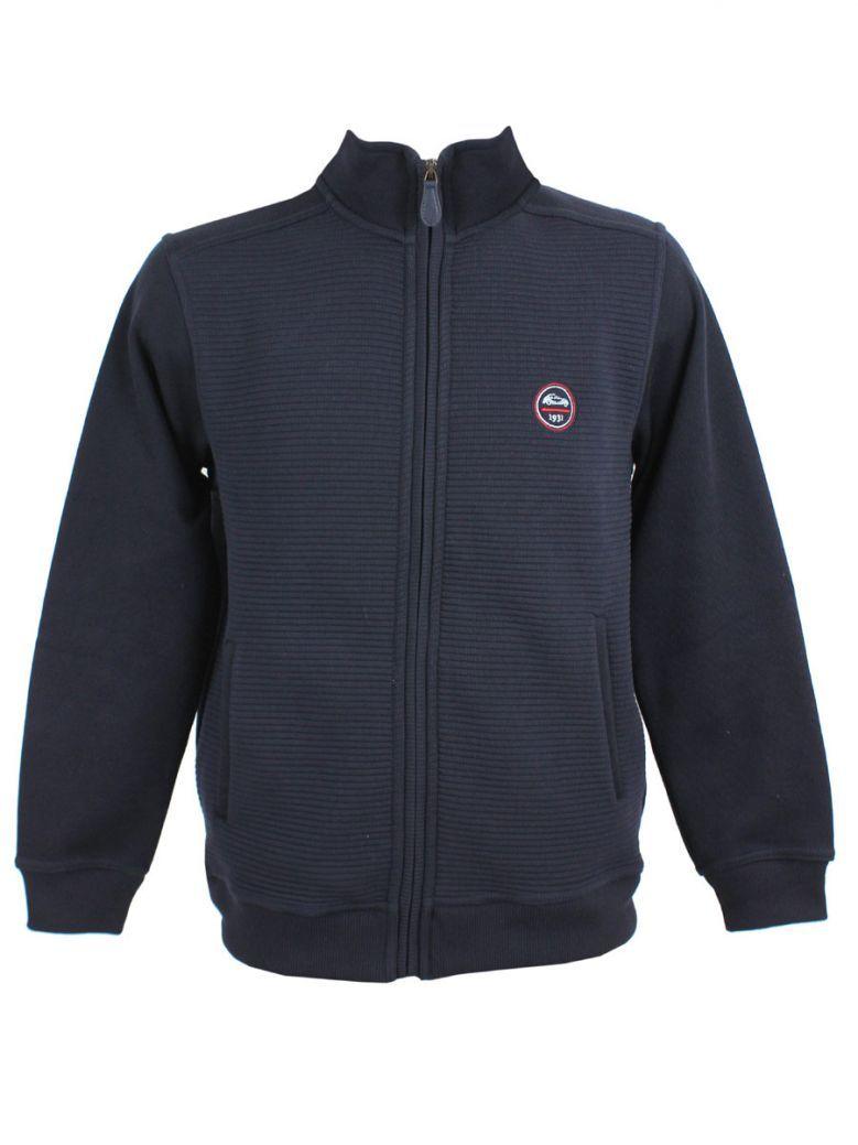 Dario Beltran Navy Rib Knit Zip-Up Jacket