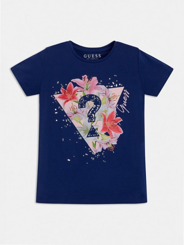 Guess Kids Dark Blue Rhinestones Logo T-Shirt