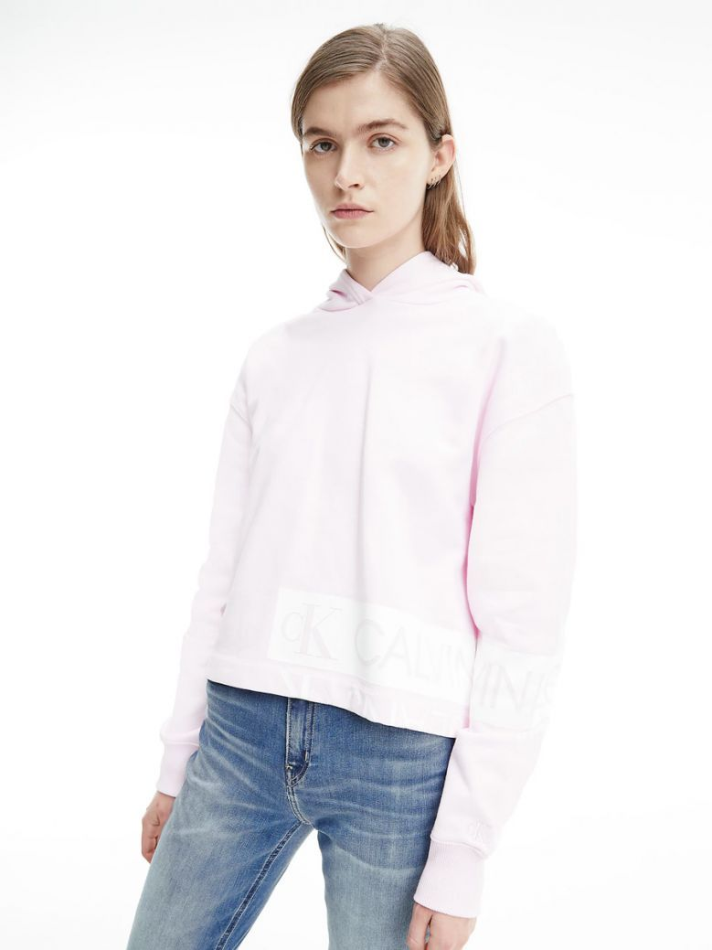 Calvin Klein Jeans Ladies Pearly Pink and Bright White Organic Cotton Logo Hoodie