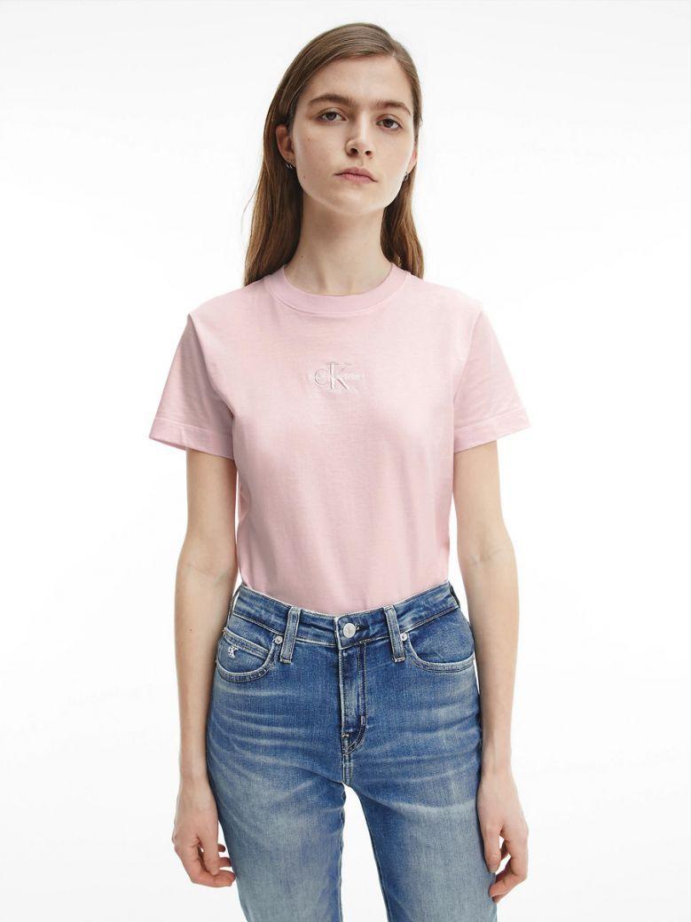 Calvin Klein Jeans Ladies Pearly Pink Organic Cotton Logo T-Shirt