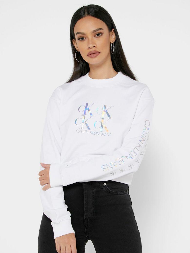 Calvin Klein Jeans Bright White Cropped Logo Sweatshirt