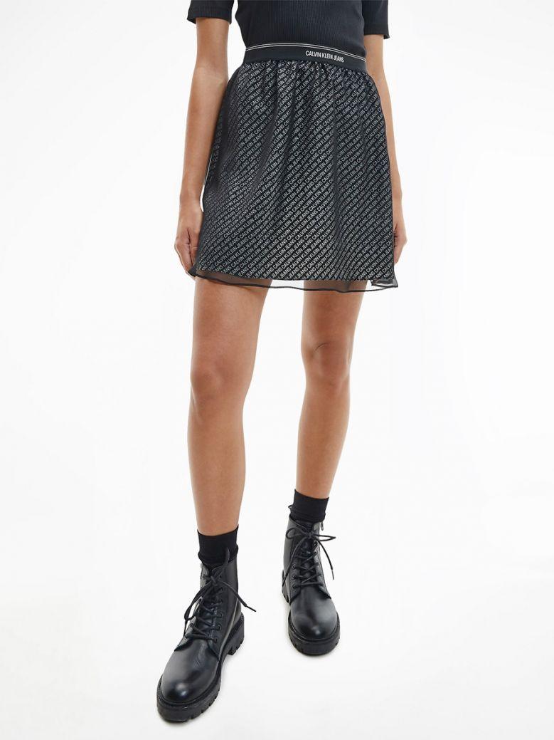 Calvin Klein Jeans Ladies Black Logo Waistband Mini Skirt