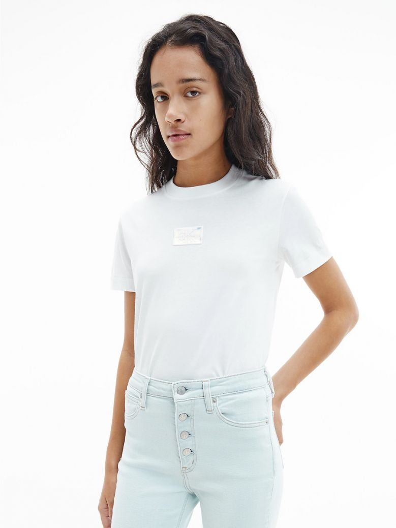 Calvin Klein Jeans Bright White Iridescent Logo T-Shirt
