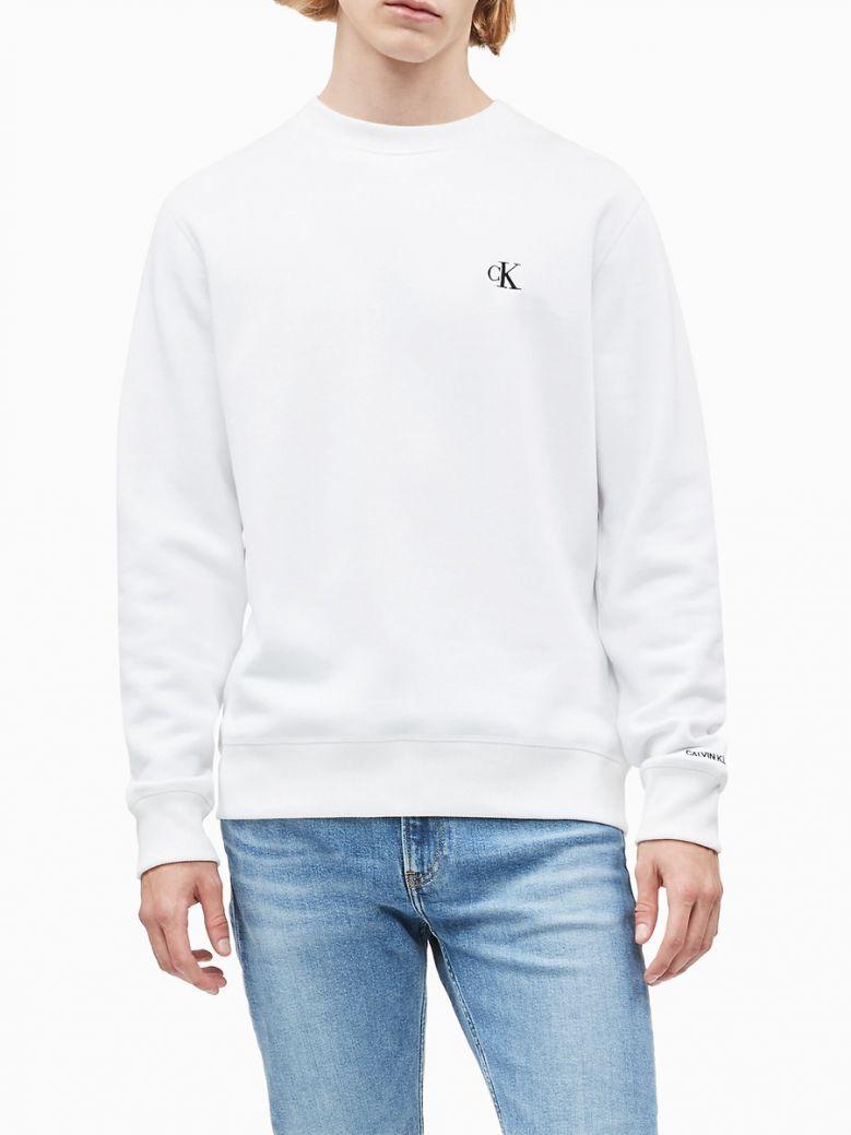 Calvin Klein Jeans Mens Bright White Cotton Blend Fleece Sweatshirt
