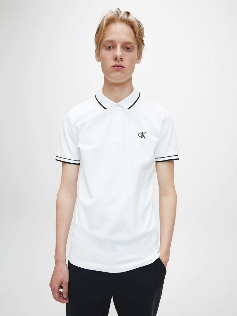 Calvin Klein Jeans Mens Bright White Slim Stretch Pique Polo Shirt