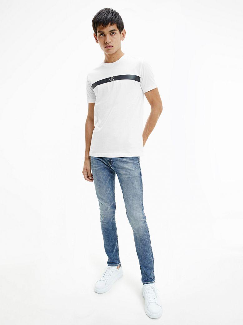 Calvin Klein Jeans Men Bright White Slim Logo T-Shirt