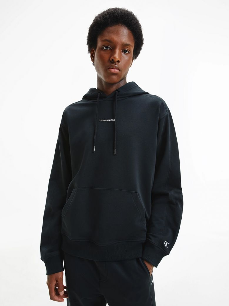 Calvin Klein Jeans Mens Black Relaxed Organic Cotton Hoodie