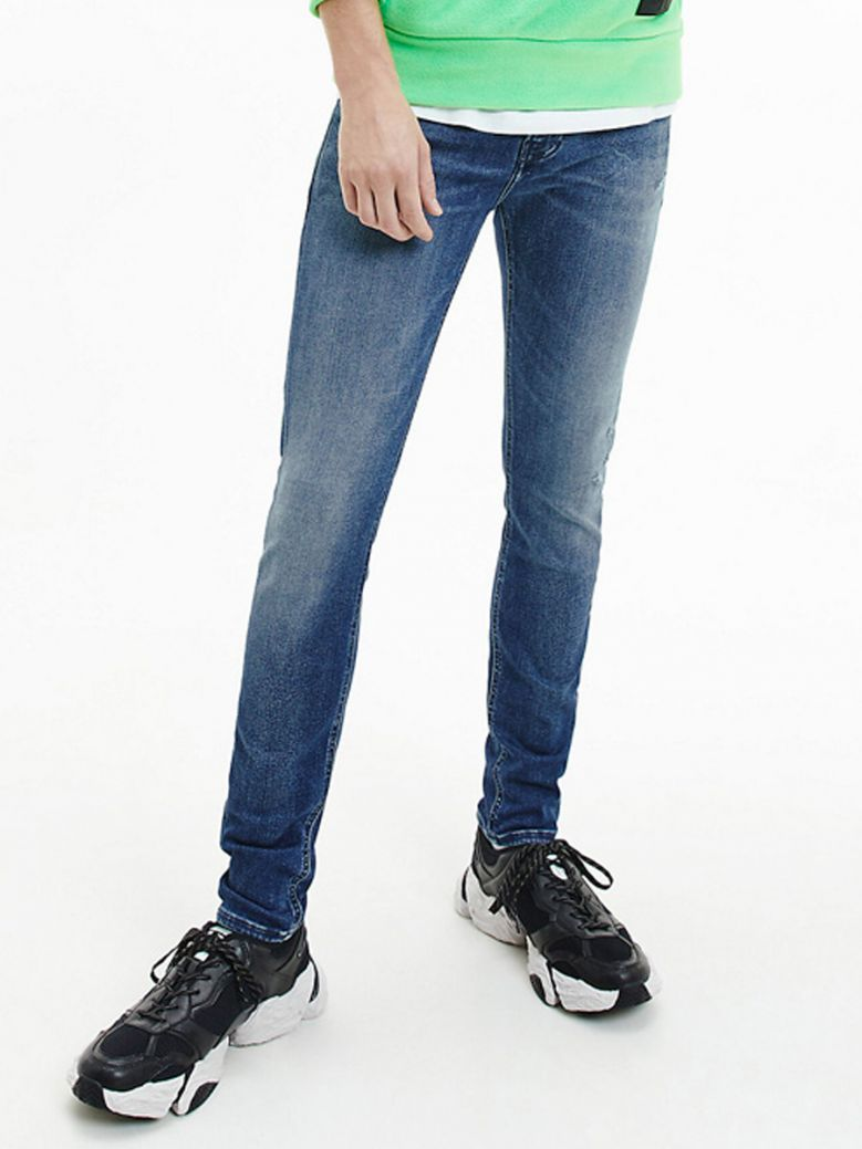 Calvin Klein Jeans Men Denim Dark Recycled Cotton Super Skinny Jeans