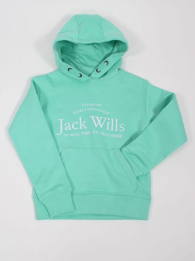 Jack Wills Logo Script Hoodie Opal Green