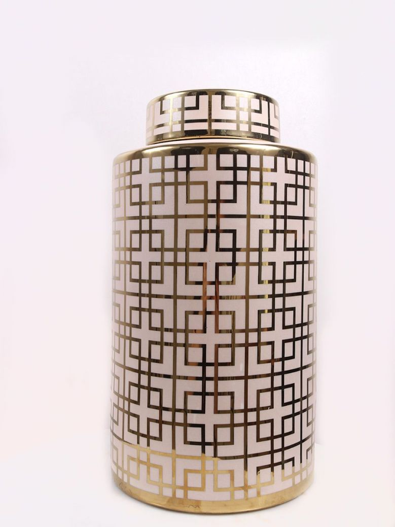 Large Champagne and Gold Ginger Jar