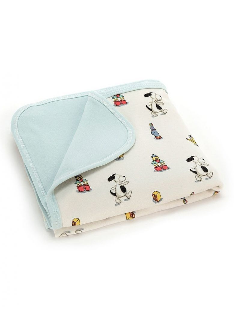 Jellycat White Bashful Puppy Jersey Baby Blanket