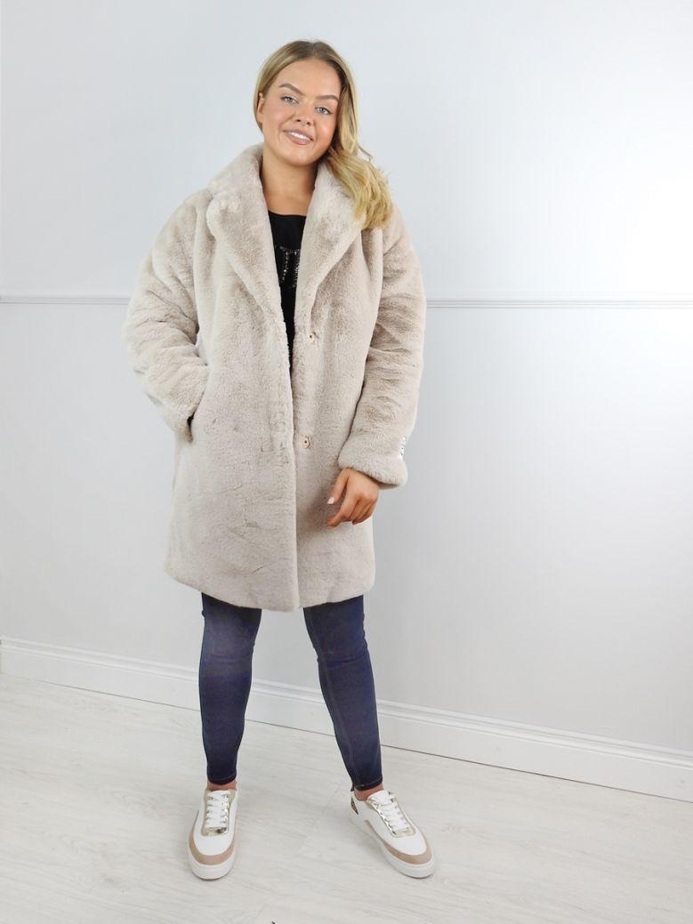 Rino & Pelle Taupe Faux Fur Joela Coat