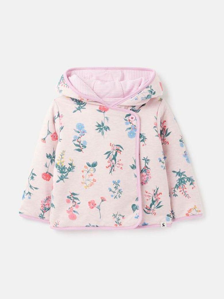 Joules Organic Reversible Jersey Jacket Pink Floral