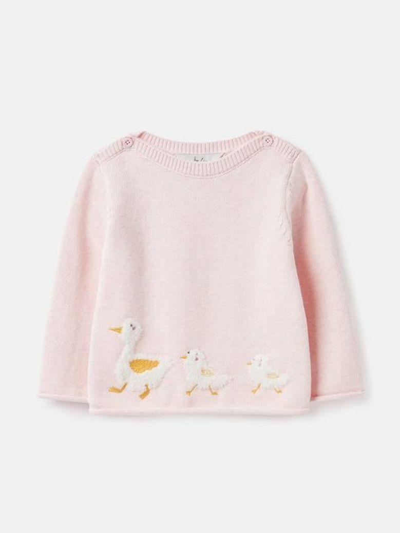 Joules Winnie Artwork Knitted Jumper Pink