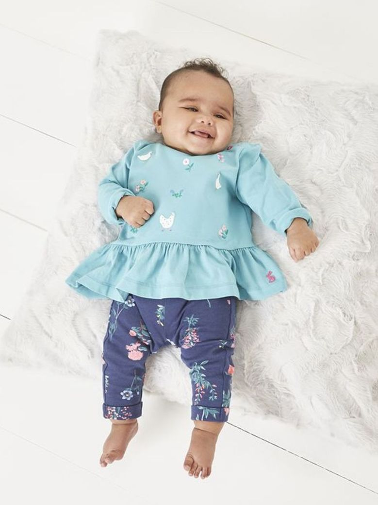 Joules Olivia Jersey Top And Trouser Set Blue