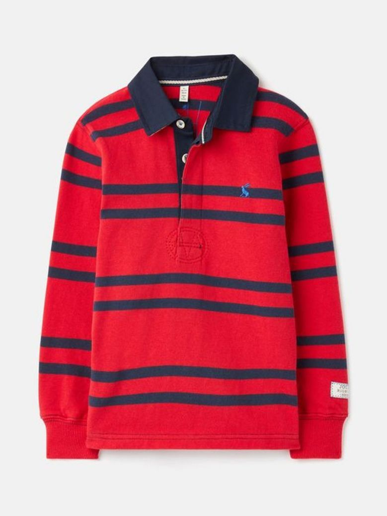 Joules Onside Stripe Rugby Shirt Red