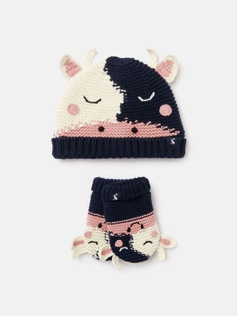 Joules Chummy Knitted Character Hat And Gloves Set Cream