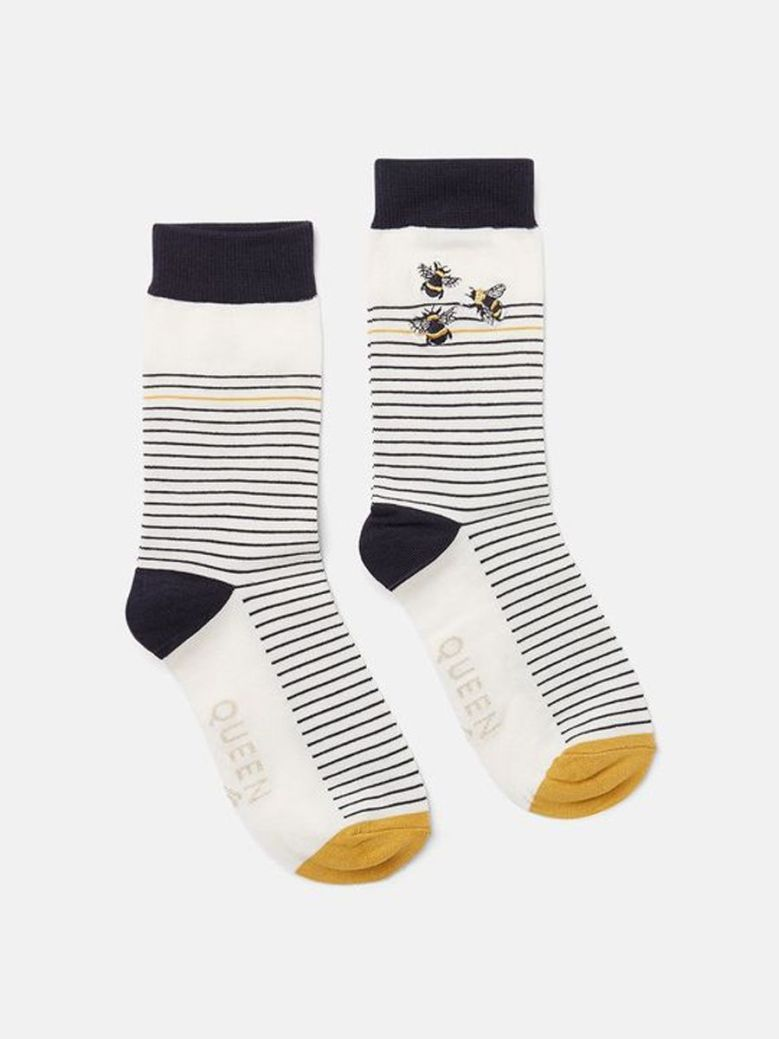 Joules Brill Bamboo Embroidered Bee Socks Stripe