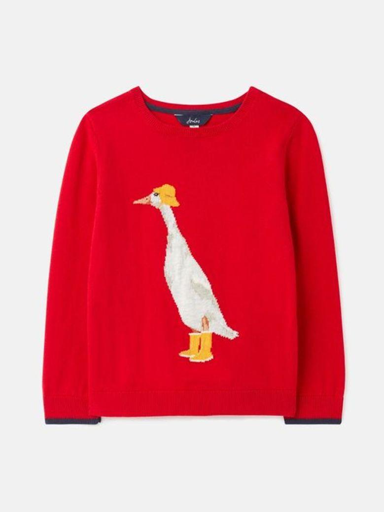 Joules Miranda Artwork Knitted Jumper Red