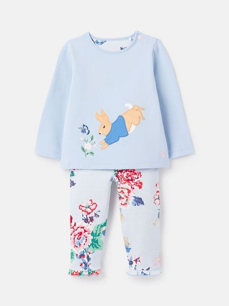 Joules Peter Rabbit Poppy Top With Frill Leggings Blue