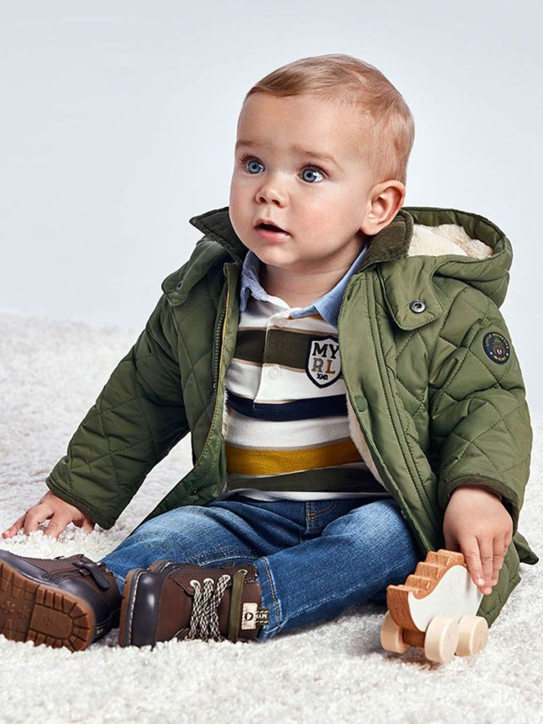 Joules Padded Coat For Baby Boy Green