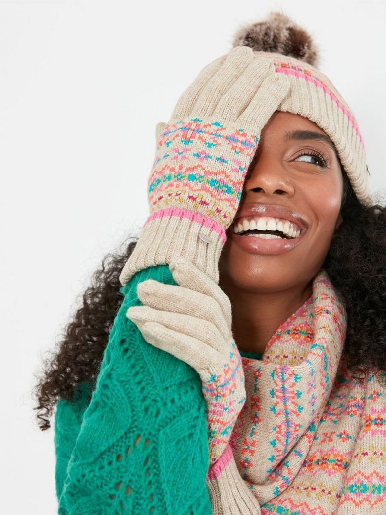 Joules Christina Fairisle Gloves Natural