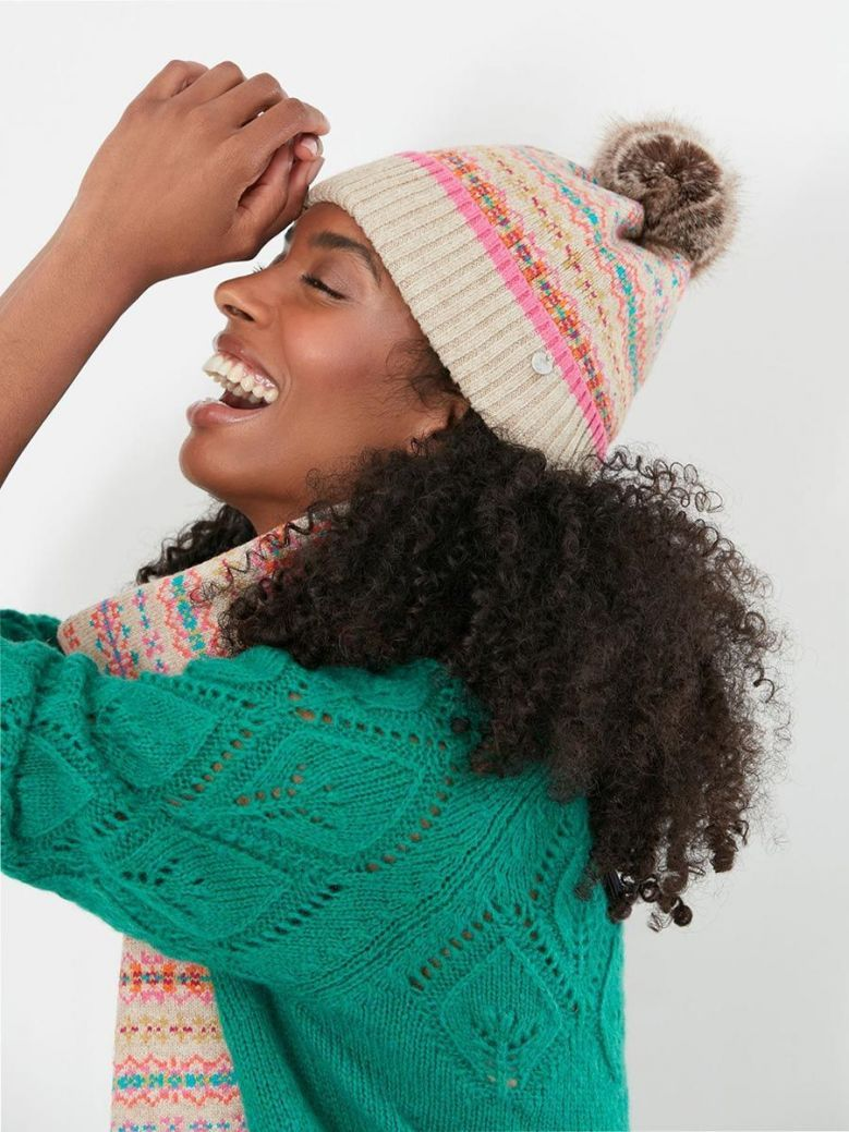 Joules Christina Fairisle Hat Natural