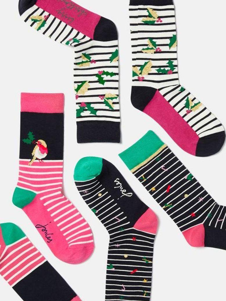 Joules Christmas Bamboo Socks 3 Pack Multi
