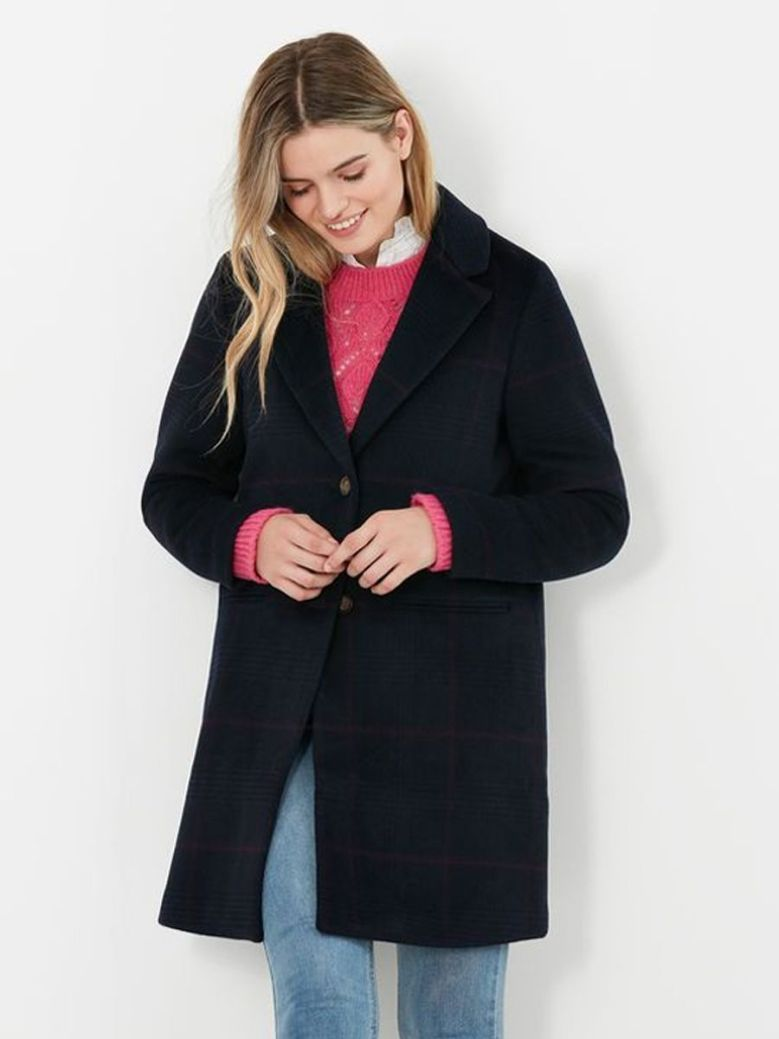 Joules Costello Wool Blend Checked Coat Black
