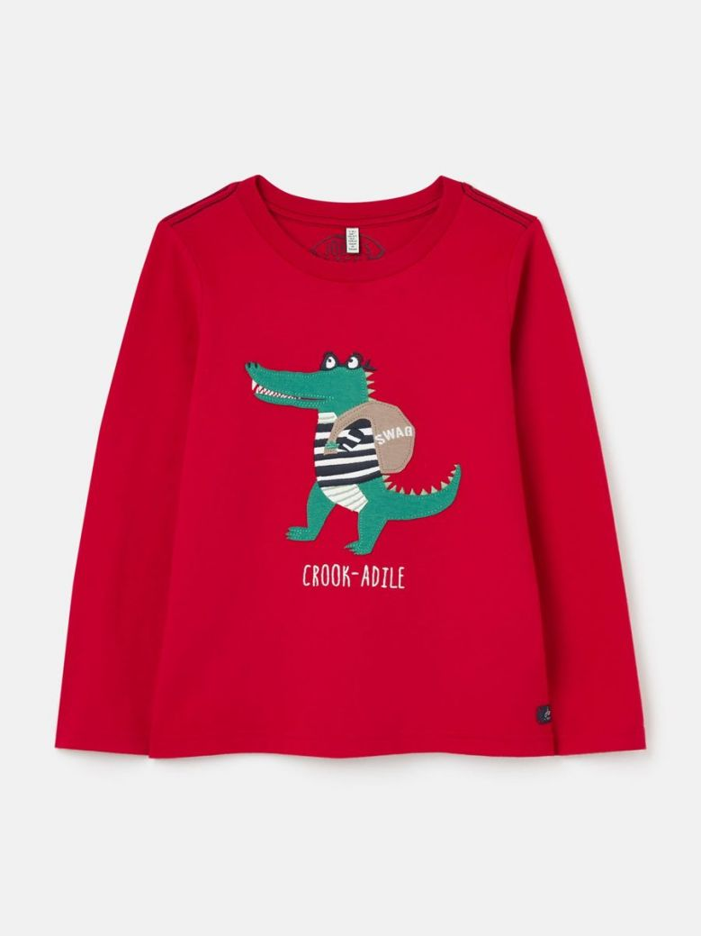 Joules Jack Long Sleeve Applique T-Shirt Red